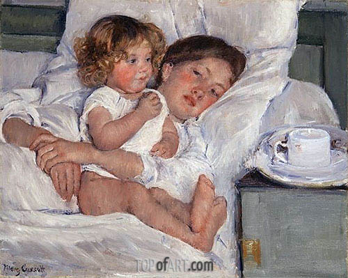 Breakfast in Bed, 1897 | Cassatt | Gemälde Reproduktion