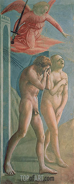 Adam and Eve Banished from Paradise, c.1427 | Masaccio| Painting Reproduction