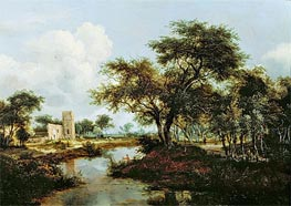 A Ruin on the Bank of a River, 1667 von Meindert Hobbema | Gemälde-Reproduktion