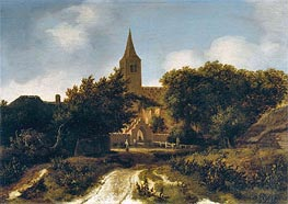 Wooded Landscape with Figures near a Church, c.1660 by Meindert Hobbema | Painting Reproduction