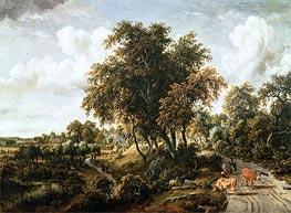 Road on the Dyke, undated von Meindert Hobbema | Gemälde-Reproduktion