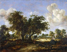 Wooded Landscape with Cottages, 1665 by Meindert Hobbema | Painting Reproduction