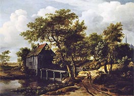 The Water Mill, 1662 by Meindert Hobbema | Painting Reproduction