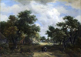 A Road Winding Past Cottages, c.1667/68 by Meindert Hobbema | Painting Reproduction