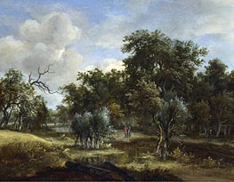 A Stream by a Wood, c.1663 by Meindert Hobbema | Painting Reproduction