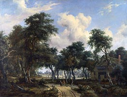 A Woody Landscape with a Cottage | Meindert Hobbema | Painting Reproduction