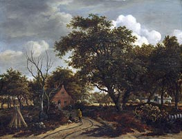 Cottages in a Wood, c.1660 by Meindert Hobbema | Painting Reproduction