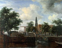 The Haarlem Lock, Amsterdam, c.1663/65 by Meindert Hobbema | Painting Reproduction
