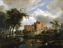 The Ruins of Brederode Castle, 1671 von Meindert Hobbema | Gemälde-Reproduktion