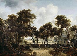 Cottages under the Trees, c.1665 by Meindert Hobbema | Painting Reproduction