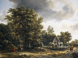 Wooded Landscape with a Village, c.1665 by Meindert Hobbema | Painting Reproduction