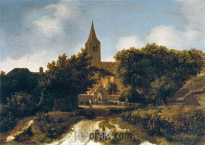 Wooded Landscape with Figures near a Church, c.1660 | Meindert Hobbema | Painting Reproduction