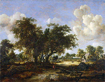 Meindert Hobbema | Wooded Landscape with Cottages, 1665