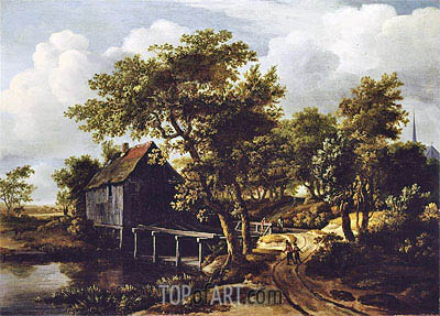 The Water Mill, 1662 | Meindert Hobbema| Painting Reproduction
