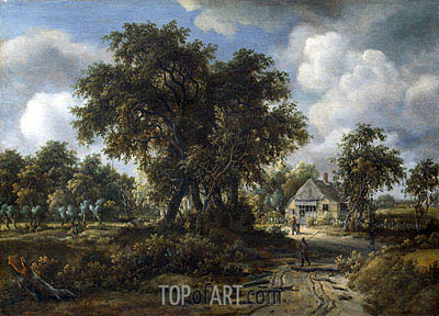 A Woody Landscape, c.1665 | Meindert Hobbema| Painting Reproduction