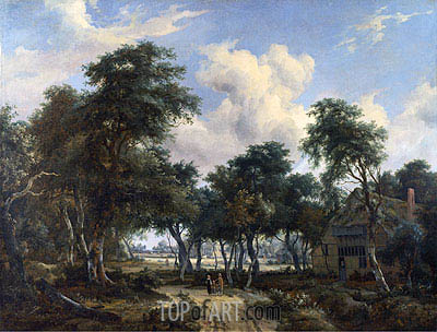 Meindert Hobbema | A Woody Landscape with a Cottage, c.1665