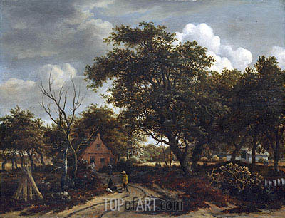 Cottages in a Wood, c.1660 | Meindert Hobbema | Painting Reproduction