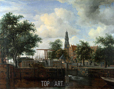 The Haarlem Lock, Amsterdam, c.1663/65 | Meindert Hobbema | Painting Reproduction
