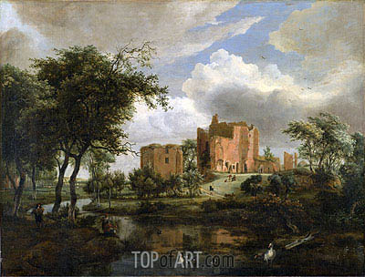 The Ruins of Brederode Castle, 1671 | Meindert Hobbema| Painting Reproduction