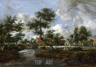 The Watermills at Singraven near Denekamp, c.1665/70 | Meindert Hobbema| Painting Reproduction