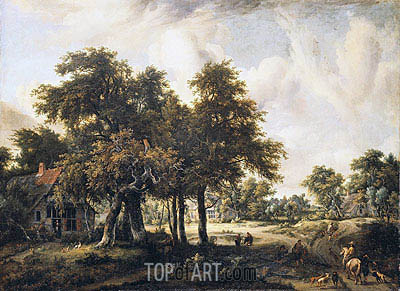 Wooded Landscape with Cottages, c.1665 | Meindert Hobbema | Gemälde Reproduktion