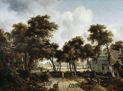 Cottages under the Trees, c.1665 | Meindert Hobbema | Painting Reproduction
