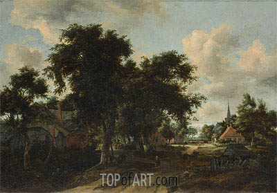 Entrance to a Village, c.1665 | Meindert Hobbema| Painting Reproduction