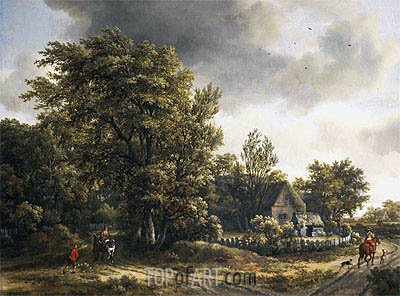 Meindert Hobbema | Wooded Landscape with a Village, c.1665