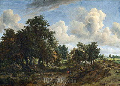 Meindert Hobbema | A Wooded Landscape, 1663