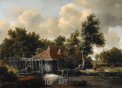 A Watermill, c.1665/68 | Meindert Hobbema | Painting Reproduction