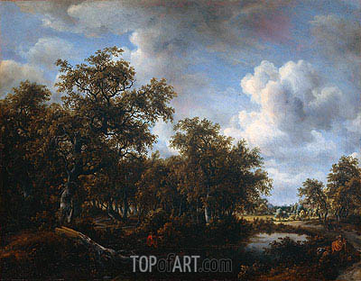 Landscape with Angler, 1664 | Meindert Hobbema | Painting Reproduction