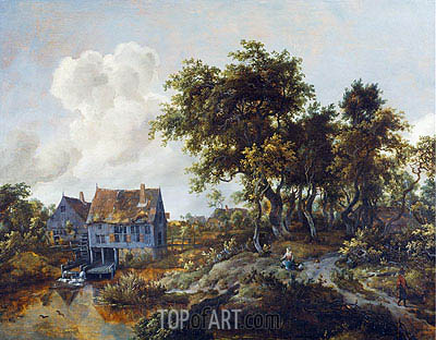 A Watermill Beside a Woody Lane, c.1665/68 | Meindert Hobbema | Painting Reproduction