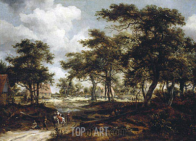 Meindert Hobbema | Wooded Landscape with Travellers and Beggars on a Road, 1668