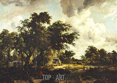 Village with Water Mill among Trees, c.1665 | Meindert Hobbema| Painting Reproduction