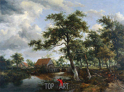 Wooded Landscape with Watermill, c.1665 | Meindert Hobbema| Painting Reproduction