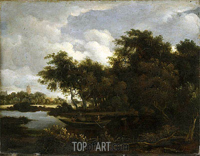 Landscape with a River,  | Meindert Hobbema| Painting Reproduction