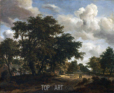 Landscape with a Wooded Road, 1662 | Meindert Hobbema | Painting Reproduction