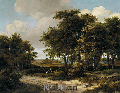 Meindert Hobbema | A Wooded Landscape with a Roadside Cottage, c.1663/68