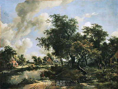 A Stormy Landscape, c.1663/65 | Meindert Hobbema | Painting Reproduction