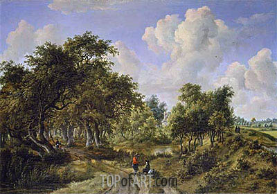 A Wooded Landscape, c.1663 | Meindert Hobbema | Painting Reproduction