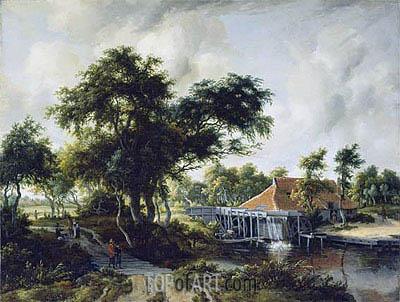 Meindert Hobbema | A Watermill, c.1663