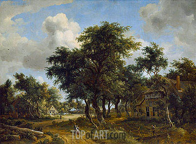 Village Street under Trees, c.1665 | Meindert Hobbema| Painting Reproduction