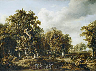 The Oak Forest, c.1660 | Meindert Hobbema | Gemälde Reproduktion