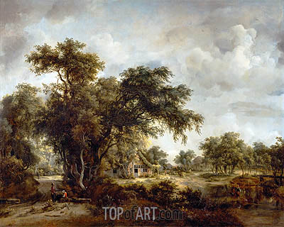 The Farmhouse, 1662 | Meindert Hobbema | Painting Reproduction