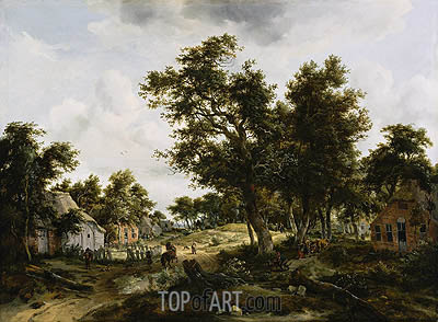 Meindert Hobbema | A Wooded Landscape with Travelers on a Path Through a Hamlet, c.1665