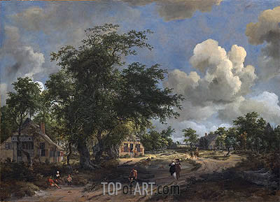 Meindert Hobbema | A View on a High Road, 1665