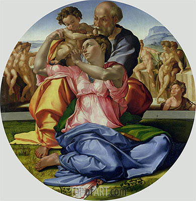 Holy Family with St. John (Doni Tondo), c.1504/05 | Michelangelo | Painting Reproduction