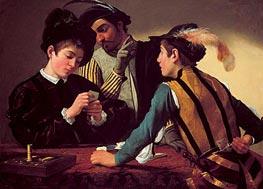 The Cardsharps (I Bari), c.1595/96 von Caravaggio | Gemälde-Reproduktion