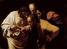 The Incredulity of Saint Thomas (Doubting Thomas), c.1602/03 von Caravaggio | Gemälde-Reproduktion