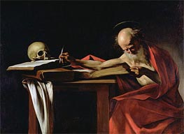 Saint Jerome Writing, c.1604/06 by Caravaggio | Painting Reproduction